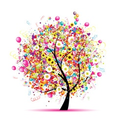 Abstract celebration tree vector image vector image