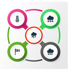 Air icons set collection of temperature wet vector