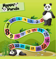 Boardgame template with two pandas in park vector