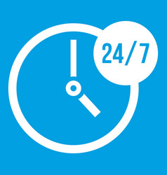 Clock 24 7 icon white vector