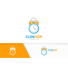Clock and shop logo combination time and vector