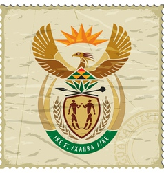 Coat of arms of South Africa on postage stamp vector image