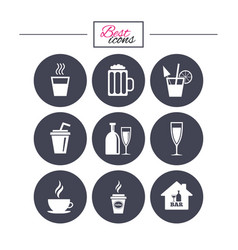 Cocktail beer icons coffee and tea drinks vector