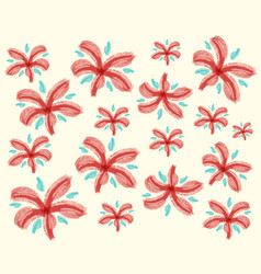 Doodle design for red flowers vector