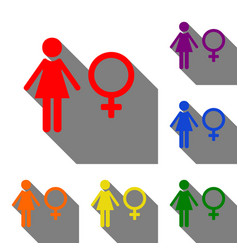 Female sign set of red orange vector