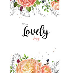 floral watercolor card design pink peach roses vector image