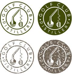 Golf club distillery concept labels with broken vector
