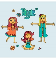 Group of hippie girls vector