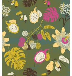 Hand draw tropical flowers and fruits vector