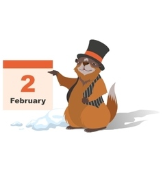 Happy groundhog day marmot holding february 2 vector