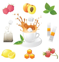 highly detailed tea icons set vector image vector image