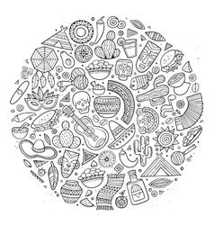 Line art hand drawn doodle cartoon set of vector