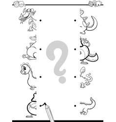 match dragons halves coloring page vector image vector image
