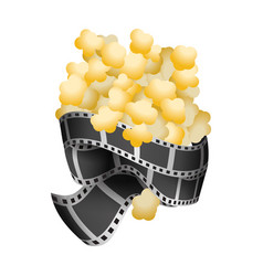 Popcorn food with filmstrips and short film vector