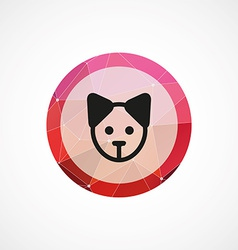 Puppy circle pink triangle background icon vector