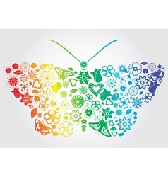 Rainbow flower butterfly vector