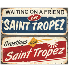 saint tropez retro signs set vector image vector image