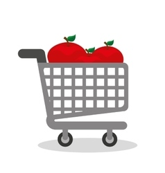 Shopping cart with vegetarian food vector