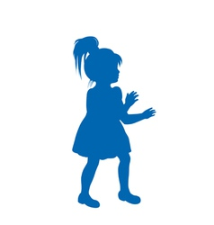 Silhouette of little girl vector image vector image