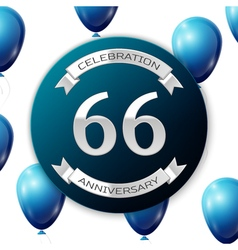 Silver number sixty six years anniversary vector