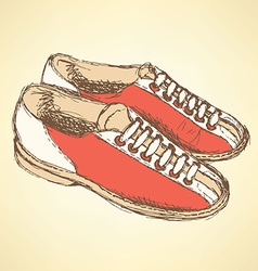 Sketch bowling shoes in vintage style vector image vector image
