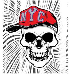 skull head wearing a hat vector image