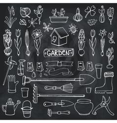 Spring garden doodlesFlowersbulbsplantstools vector image