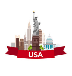 travel to usa new york poster skyline statue of vector image vector image