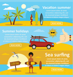 vacation summer banner horizontal set flat style vector image