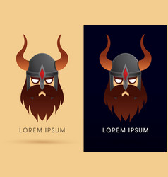 viking head with helmet vector image