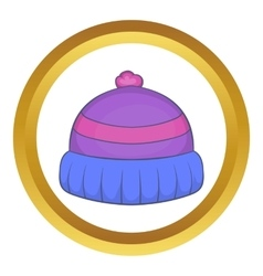 Winter knitted hat with pompon icon vector