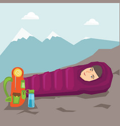 Woman sleeping in a sleeping bag in the mountains vector