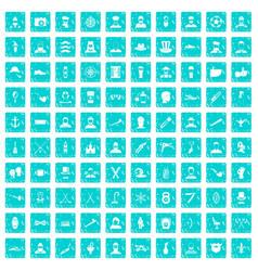 100 beard icons set grunge blue vector