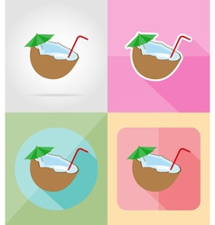 Objects for recreation a beach flat icons 13 vector