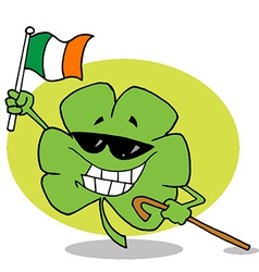 Shamrock Carrying A Cane And Waving An Irish Flag vector image