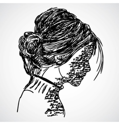 A sketch of the girl with words written on her vector image