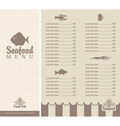 Menu for seafood vector