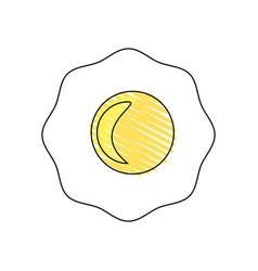 drawing fried egg breakfast food vector image
