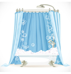 Vintage claw-foot bathtub and a curtain on the vector