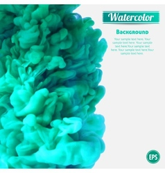 Turquoise swirling ink in water vector image