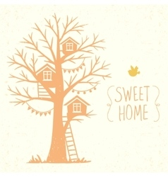 Tree and houses vector
