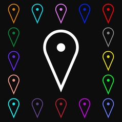 Map poiner icon sign lots of colorful symbols for vector