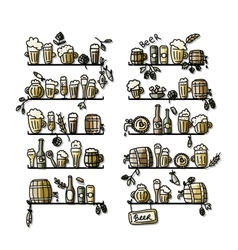 Shelves with beer icons sketch for your design vector image