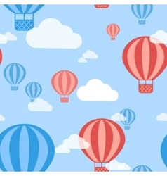Hot air balloon seamless pattern background vector