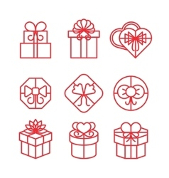 Gift boxes with bows linear icons set vector