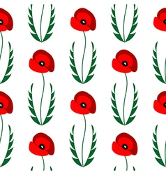 Pattern background with closeup poppies vector