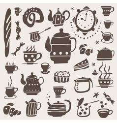 Tea cups doodles set vector