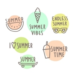 Summer time set of cute icons vector