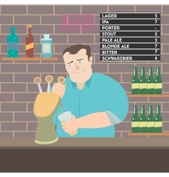 Bartender pouring beer vector