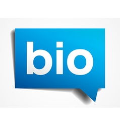 Bio blue 3d realistic paper speech bubble isolated vector image